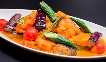 海老と季節野菜のウニソース炒め